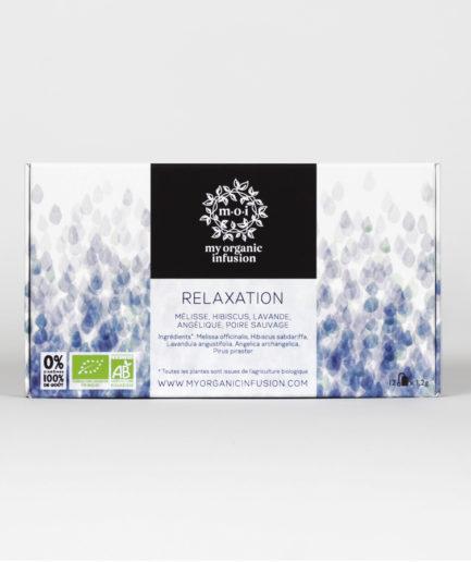 Infusion relaxante bio aux notes de Lavande et d'Hibiscus, apaise le flot du mental et les effets du stress. Tisane relaxante en infusettes.